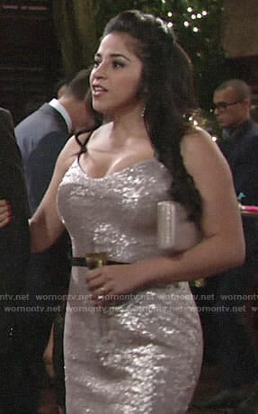 Mia's silver sequin dress on The Young and the Restless