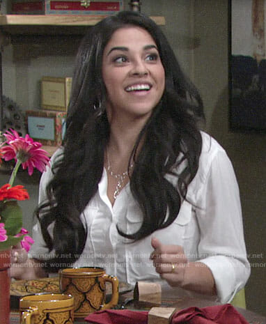 Mia's white button down shirt on The Young and the Restless