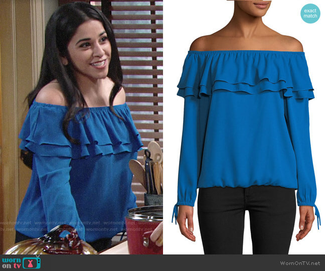 MICHAEL Michael Kors Ruffled Off-the-Shoulder Peasant Blouse worn by Mia Rosales (Noemi Gonzalez) on The Young & the Restless