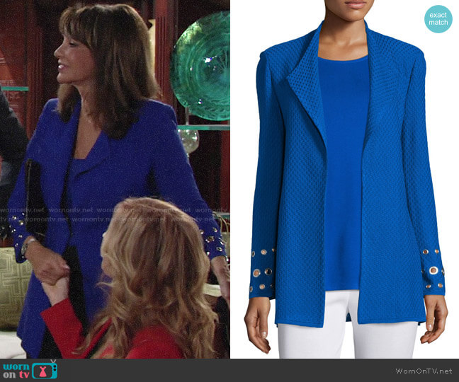 Misook Long Knit Jacket with Grommet Detail worn by Jill Abbott on The Young and the Restless worn by Jill Abbott (Jess Walton) on The Young & the Restless