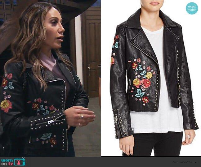 Floral-Embroidered Faux Leather Biker Jacket by Molly Bracken worn by Melissa Gorga (Melissa Gorga) on The Real Housewives of New Jersey