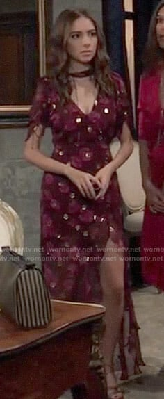 Molly's red floral and metallic dot dress on General Hospital