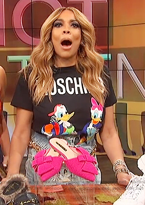Wendy's black Moschino tee on The Wendy Williams Show