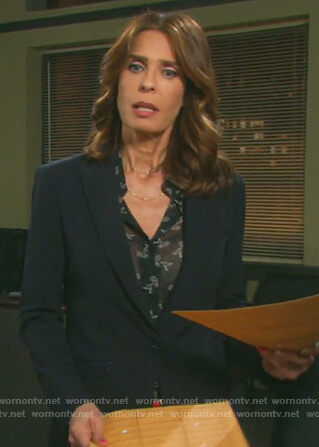 Hope's navy zip pockets blazer on Days of Our Lives