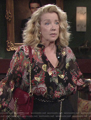 Nikki's metallic floral blouse on The Young and the Restless