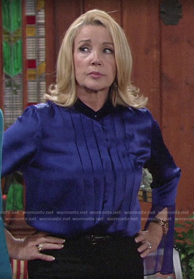 b96b96461d6 Nikki s blue pleated blouse with bell sleeves on The Young and the Restless