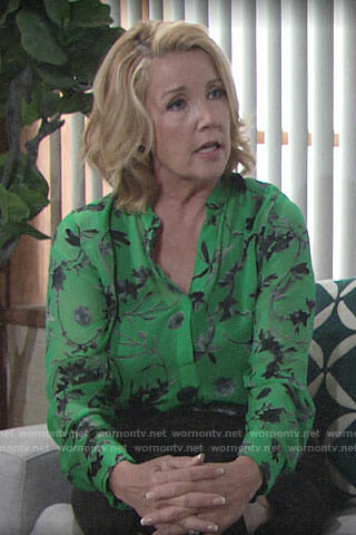 Nikki's green floral blouse on The Young and the Restless