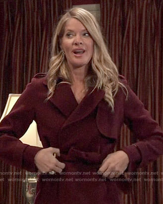 Nina's burgundy coat on General Hospital