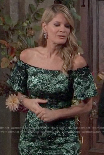 Nina's green off-shoulder dress on General Hospital