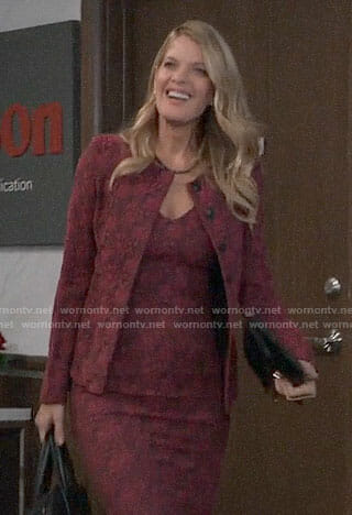 Nina's pink floral dress and jacket on General Hospital