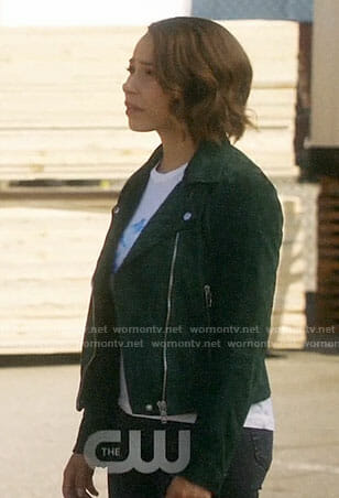 Nora's green suede moto jacket on The Flash