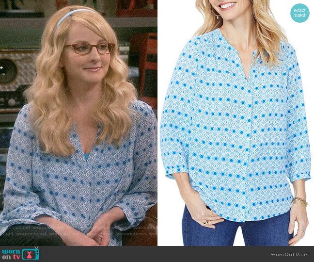 NYDJ Pintuck-Back Blouse worn by Melissa Rauch on The Big Bang Theory
