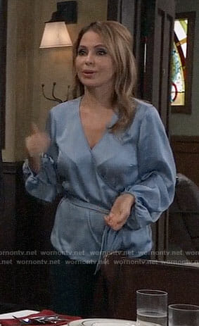 Olivia's blue wrap blouse on General Hospital