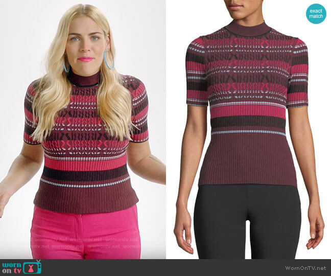 Opening Ceremony Fitted Ribbed Short-Sleeve Striped Top worn by Busy Philipps  on Busy Tonight