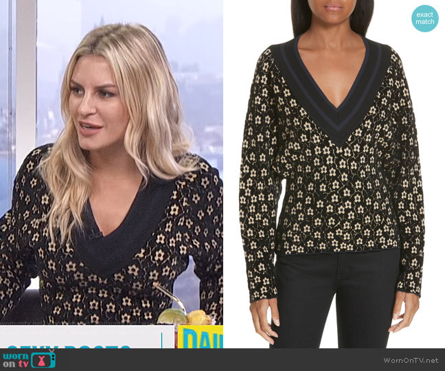 Floral Jacquard Sweater by Opening Ceremony worn by Morgan Stewart (Morgan Stewart) on E! News