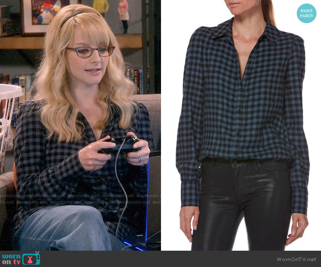 Paige Enid Shirt in Black / Midnight Slate worn by Bernadette Rostenkowski (Melissa Rauch) on The Big Bang Theory