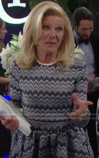 Pam's blue zig zag patterned dress on The Bold and the Beautiful