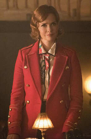 Penelope's long red military style coat on Riverdale