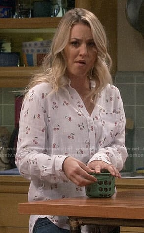 Penny's cherry print button down shirt on The Big Bang Theory