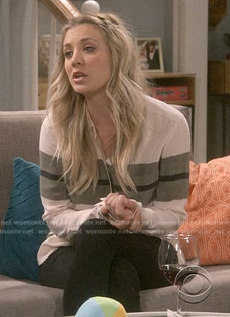 Penny's green striped blouse on The Big Bang Theory