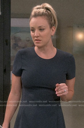 Penny's navy short sleeved dress on The Big Bang Theory