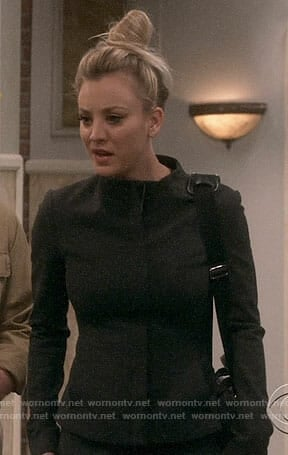 Penny's black funnel neck jacket on The Big Bang Theory