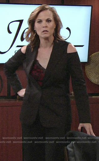 Phyllis's cold-shoulder blazer on The Young and the Resltess