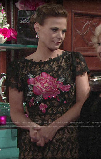 Phyllis's lace dress with pink flower on The Young and the Restless