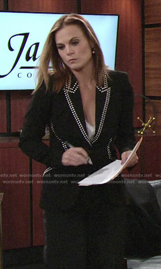 Phyllis's black studded blazer on The Young and the Restless