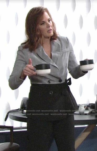 Phyllis's plaid colorblock blazer on The Young and the Restless