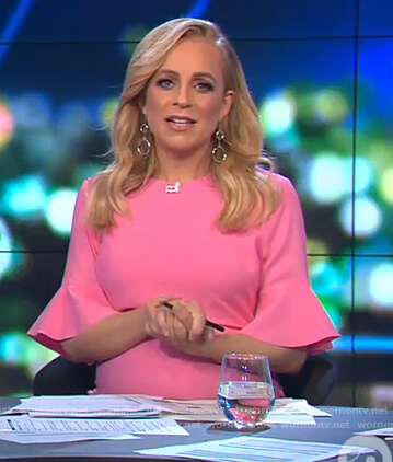 Carrie's pink bell sleeve dress on The Project