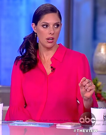Abby's pink ruffle cuffs blouse on The View