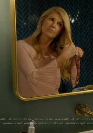 Debra's pink off shoulder bell sleeve dress on Dirty John