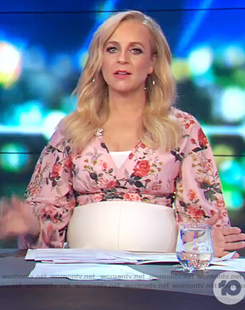 Carrie's pink floral top on The Project