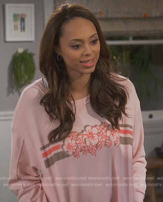 Claire's pink floral sweatshirt on Happy Together