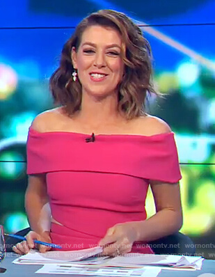 Gorgi's pink off shoulder cutout dress on The Project