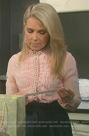 Jennifer's pink ruffled pearl embellished blouse on Days of Our Lives