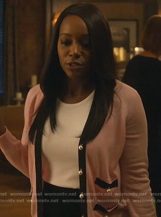 Michaela's pink pearl button cardigan on How to Get Away with Murder