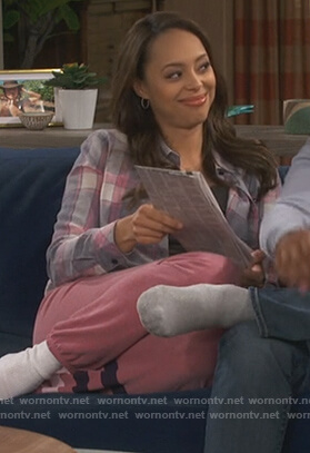 Claire's plaid shirt and pink sweatpants on Happy Together