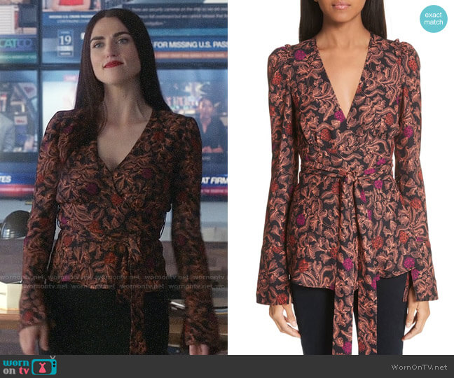 Lena's printed wrap top on Supergirl