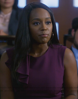 Michaela's purple ruffle shoulder sheath dress on How to Get Away with Murder