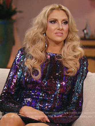 Gina's purple sequin mini dress on The Real Housewives of Orange County