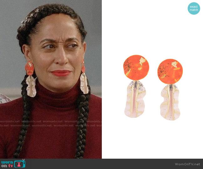 Rachel Comey Painted Drop Earrings worn by Rainbow Johnson (Tracee Ellis Ross) on Blackish