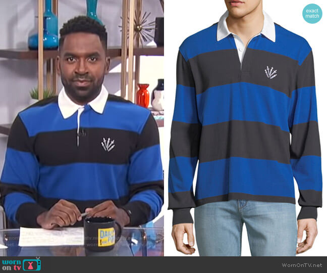 Rugby Polo Shirt with Dagger Embroidery by Rag & Bone worn by Justin Sylvester  on E! News