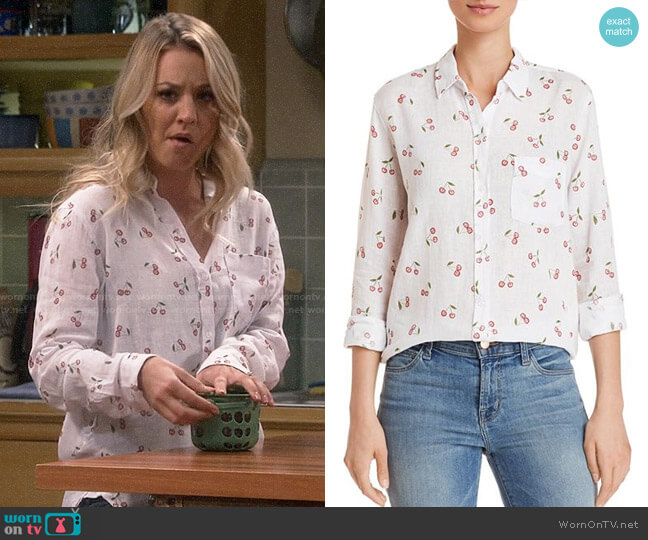 Rails Charli Cherry Print Shirt worn by Kaley Cuoco on The Big Bang Theory