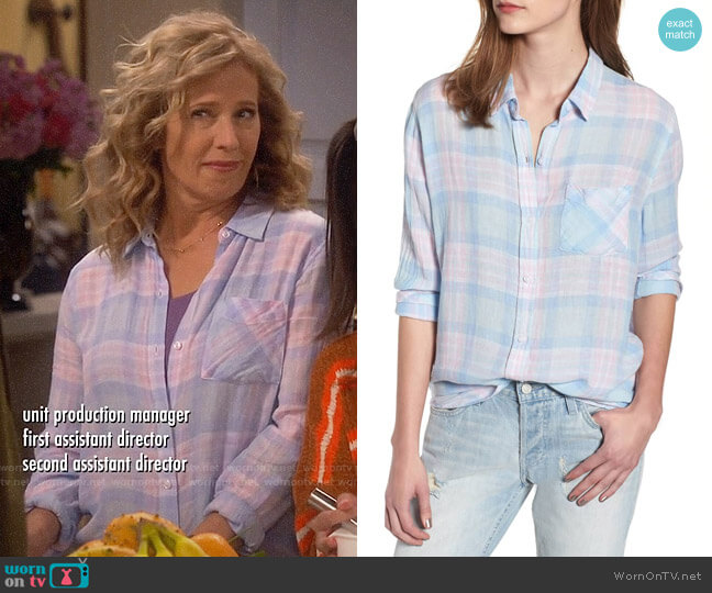 Rails Charli Shirt in Aqua Pink Blue worn by Vanessa Baxter (Nancy Travis) on Last Man Standing