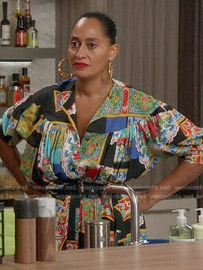 Bo's mixed print dress on Black-ish