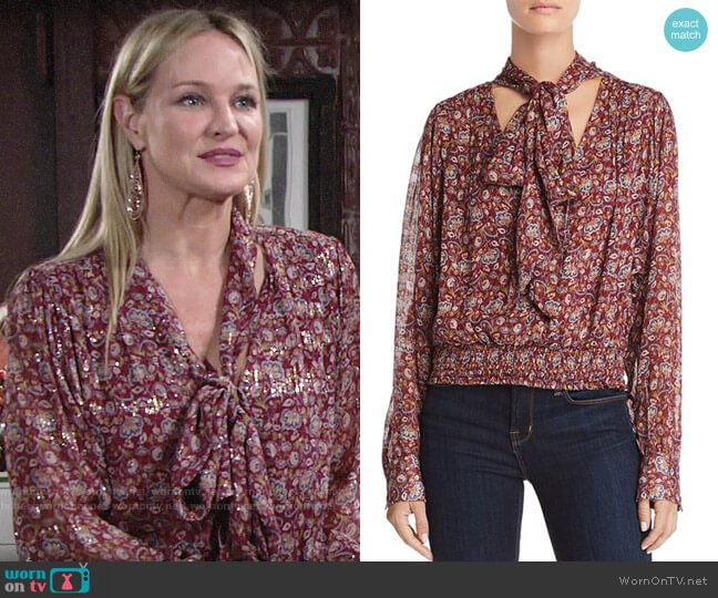 Ramy Brook Tie Neck Paisley Silk Top worn by Sharon Collins (Sharon Case) on The Young & the Restless