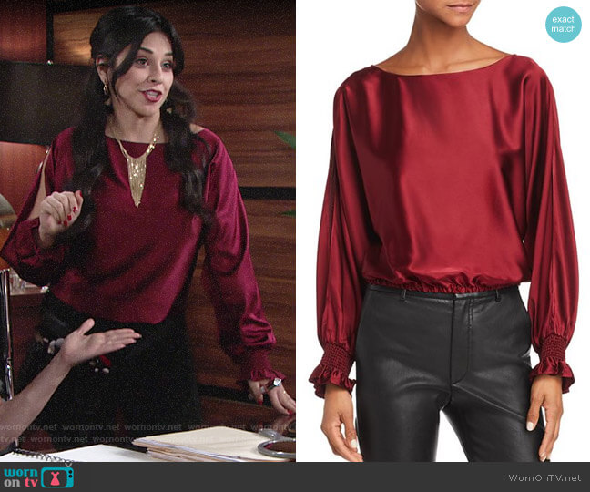 Ramy Brook Adena Satin Top worn by Mia Rosales (Noemi Gonzalez) on The Young & the Restless