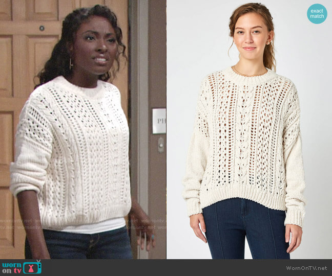 RD Style Pointelle Chenille Pullover Sweater worn by Ana Hamilton (Loren Lott) on The Young & the Restless
